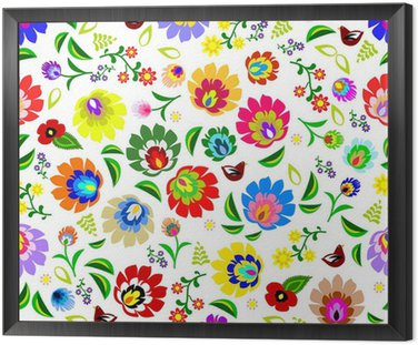 Framed Canvas Traditional Polish repetitive folk floral pattern vector