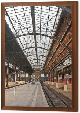 trainstation, glass of roof gives a beautiful harmonic structure Framed Canvas