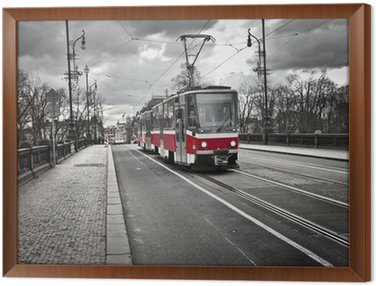 Framed Canvas tram in the city of Prague