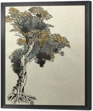 Framed Canvas tree drawing example
