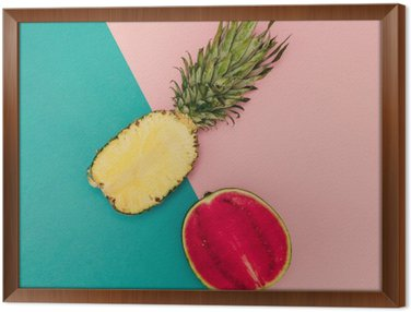 Tropical Mix. Pineapple and Watermelon. minimal Style Framed Canvas