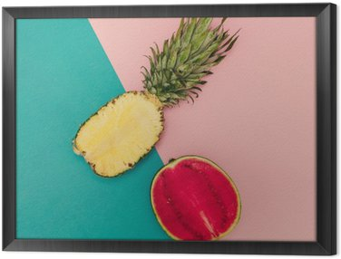 Framed Canvas Tropical Mix. Pineapple and Watermelon. minimal Style