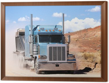 Framed Canvas truck on a desert