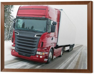 Framed Canvas TRUCK SNOW TRANSPORT