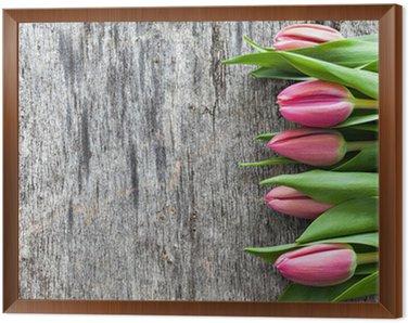 Tulpen auf Holz Framed Canvas