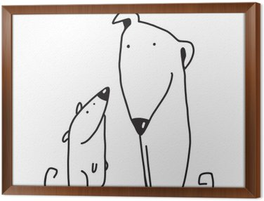 Framed Canvas Two cartoon brown dog parent and kid