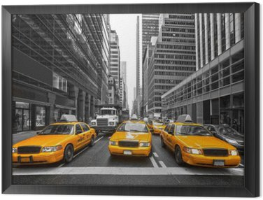 TYellow taxis in New York City, USA. Framed Canvas