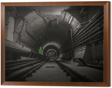 Underground tunnel with railroad track Framed Canvas