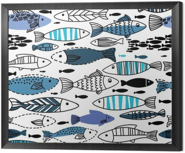 Underwater seamless pattern with fishes. Seamless pattern can be used for wallpapers, web page backgrounds Framed Canvas