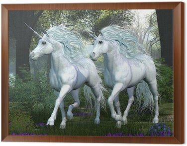 Framed Canvas Unicorn Elm Forest