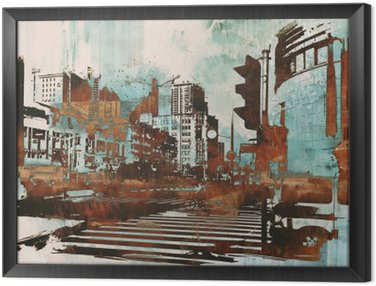 urban cityscape with abstract grunge,illustration painting Framed Canvas