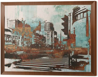 Framed Canvas urban cityscape with abstract grunge,illustration painting