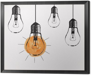 Framed Canvas Vector grunge illustration with hanging light bulbs and place for text. Modern hipster sketch style. Unique idea and creative thinking concept.