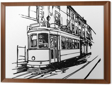 Framed Canvas Vector illustration of a typical tramway in Lisbon - Portugal