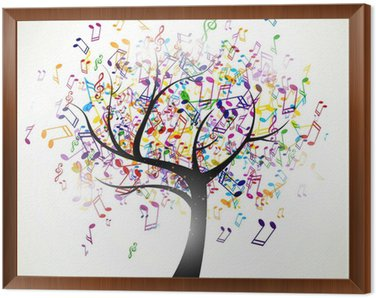 Framed Canvas Vector Illustration of an Abstract Background with Music notes