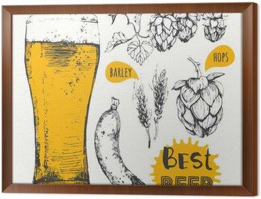 Framed Canvas Vector illustration of beer and sausages. Pub menu.