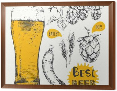 Vector illustration of beer and sausages. Pub menu.