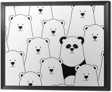 Framed Canvas Vector seamless pattern with white polar bears and panda