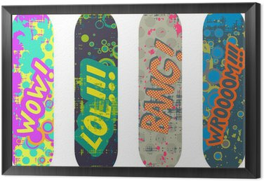 Framed Canvas Vector skateboard design pack with cartoon style effects