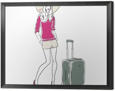 Vector sketch fashion woman with bag