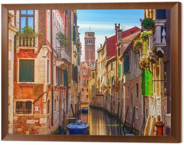 Venice cityscape, water canal, campanile church and traditional Framed Canvas