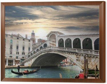 Venice with Rialto bridge in Italy Framed Canvas