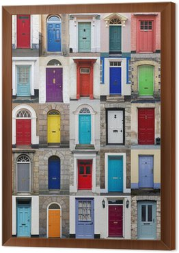 Framed Canvas Vertical photo collage of 25 front doors