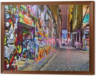 View of colorful graffiti artwork at Hosier Lane in Melbourne Framed Canvas