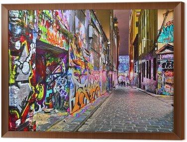Framed Canvas View of colorful graffiti artwork at Hosier Lane in Melbourne
