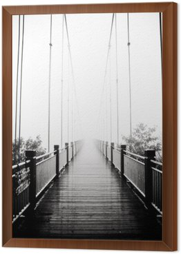 Framed Canvas view on pedestrian wooden bridge in mist