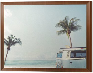 Vintage car parked on the tropical beach (seaside) with a surfboard on the roof - Leisure trip in the summer Framed Canvas