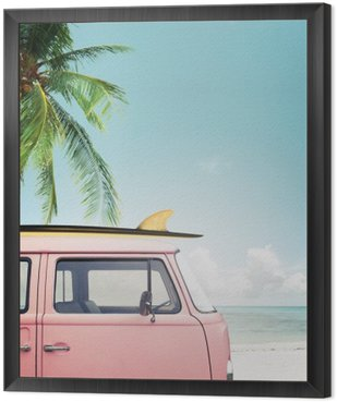 Vintage car parked on the tropical beach (seaside) with a surfboard on the roof Framed Canvas
