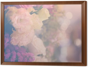 Vintage carnetion and rose flower bouquet soft background