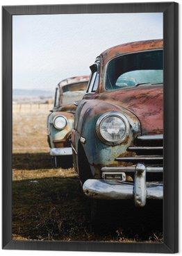 Framed Canvas vintage cars vertical version