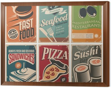 Vintage collection of food and restaurants posters Framed Canvas