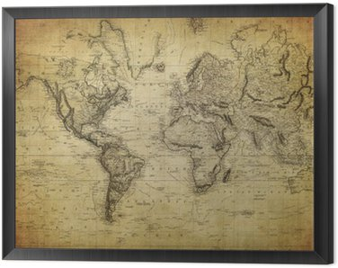 Framed Canvas vintage map of the world 1814..