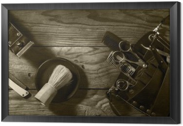 Vintage set of Barbershop.Toning sepia Framed Canvas