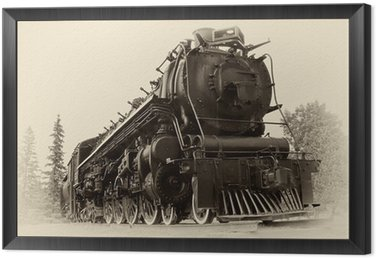 Framed Canvas Vintage Style Photo of Steam Train
