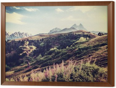Framed Canvas Vintage Valley and Mountains