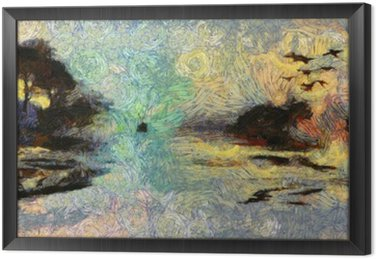 Framed Canvas Vivid Swirling Painting of Islands Sunset or Sunrise