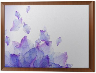 Framed Canvas Watercolor card with Purple flower petal