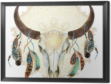 watercolor cow skull with feathers