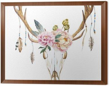 Framed Canvas Watercolor deer head with wildflowers