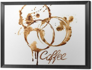 Watercolor emblem with coffee stains Framed Canvas