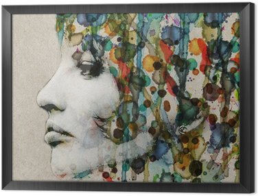Watercolor female profile Framed Canvas