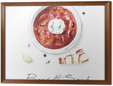 Framed Canvas Watercolor Food Painting - Borscht Soup