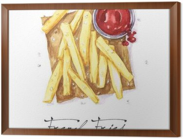 Framed Canvas Watercolor Food Painting - French Fries