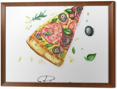 Framed Canvas Watercolor Food Painting - Pizza