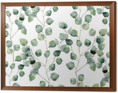 Watercolor green floral seamless pattern with eucalyptus round leaves. Hand painted pattern with branches and leaves of silver dollar eucalyptus isolated on white background. For design or background