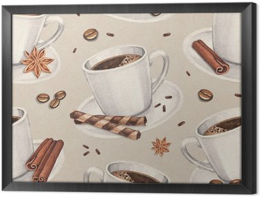 Watercolor illustrations of coffee cup. Seamless pattern Framed Canvas